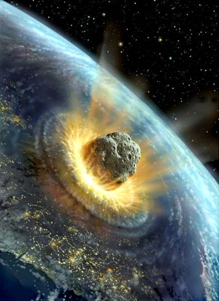 Above is an artist's rendition of an asteroid slamming into Earth, representing one of the great dangers to Earth. The other -man.